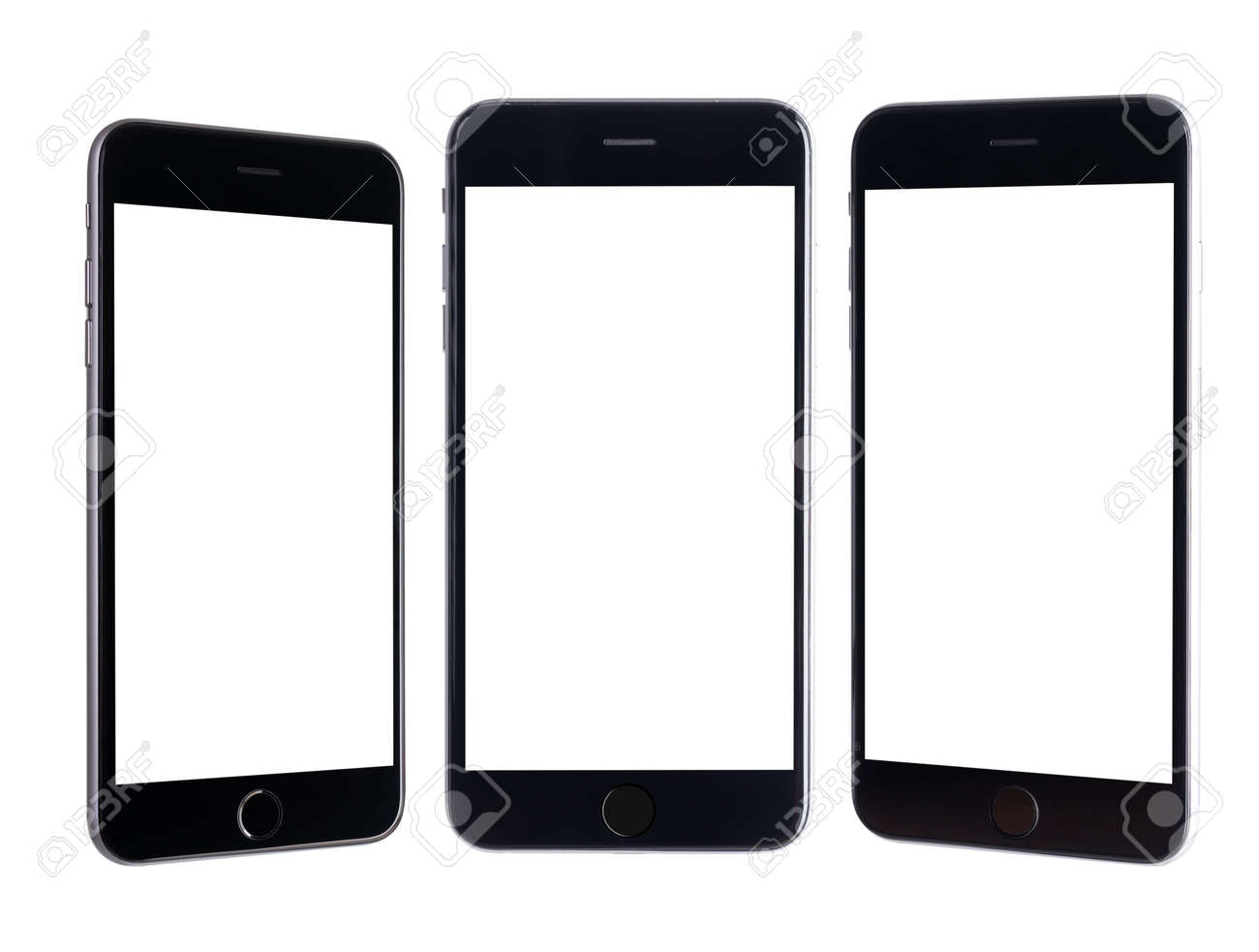 Black modern smartphone mockup. Mobile smart phone technology front blank screen studio shot isolated on over white background with clipping mask path on the phone and screen - 155876523