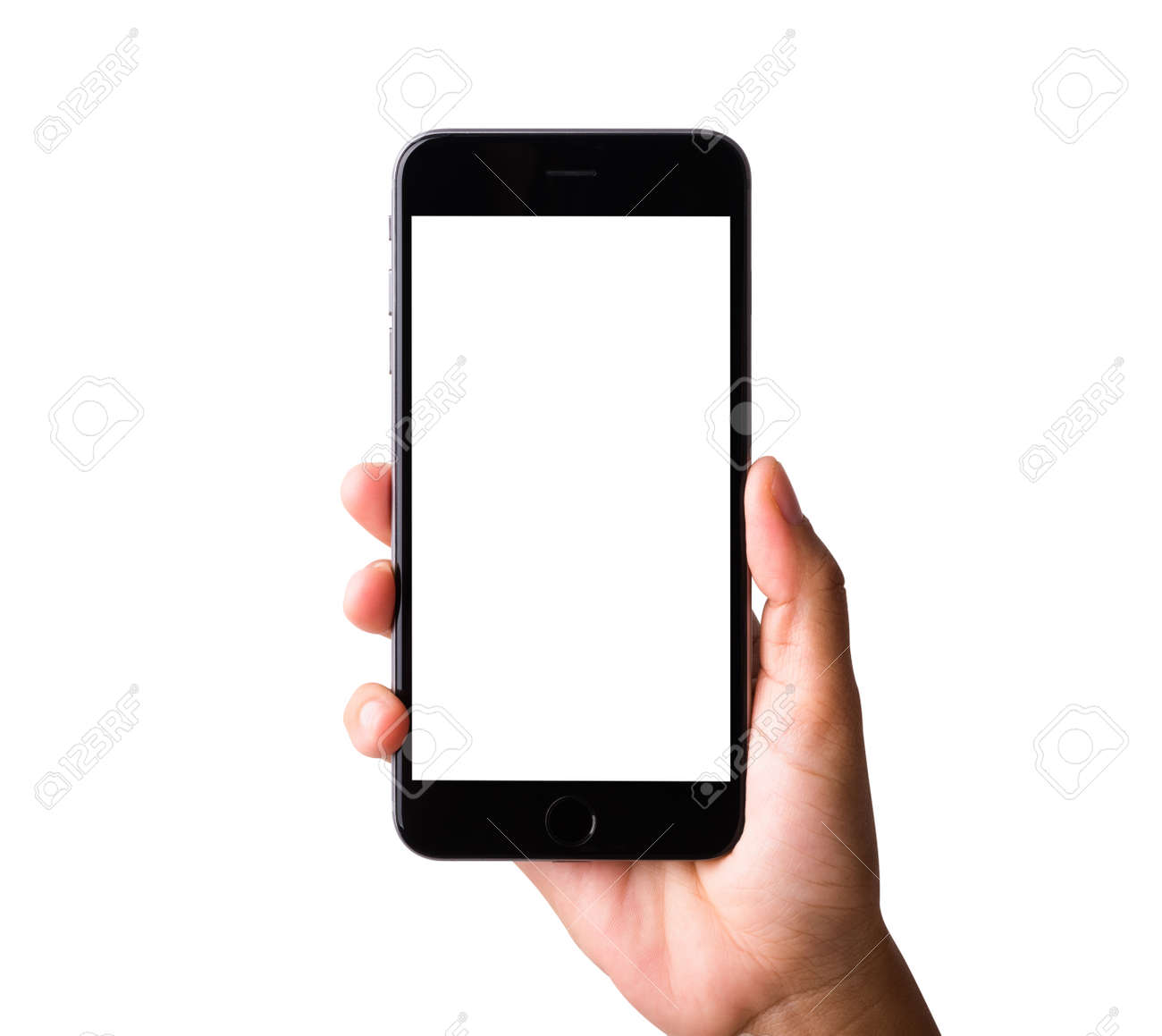 Woman hand holding a smartphone blank white screen. Female holds the modern mobile phone on hands studio shot isolated on over white background with clipping mask path on the phone and screen - 157439444