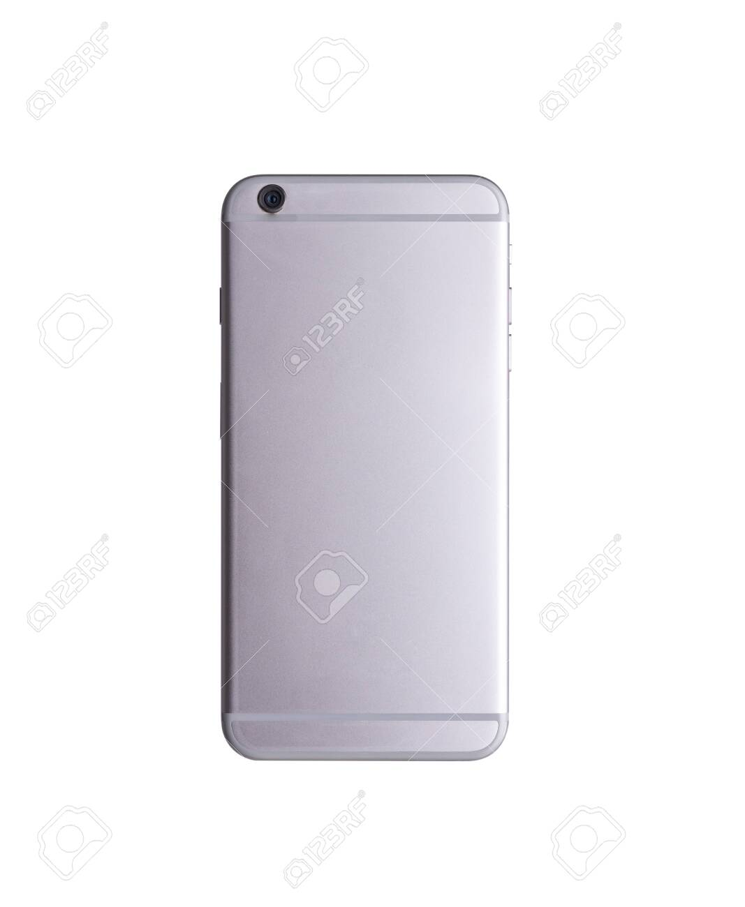Backside view modern smartphone mockup. Back mobile smart phone technology studio shot isolated on over white background with clipping mask path on the phone - 158284553