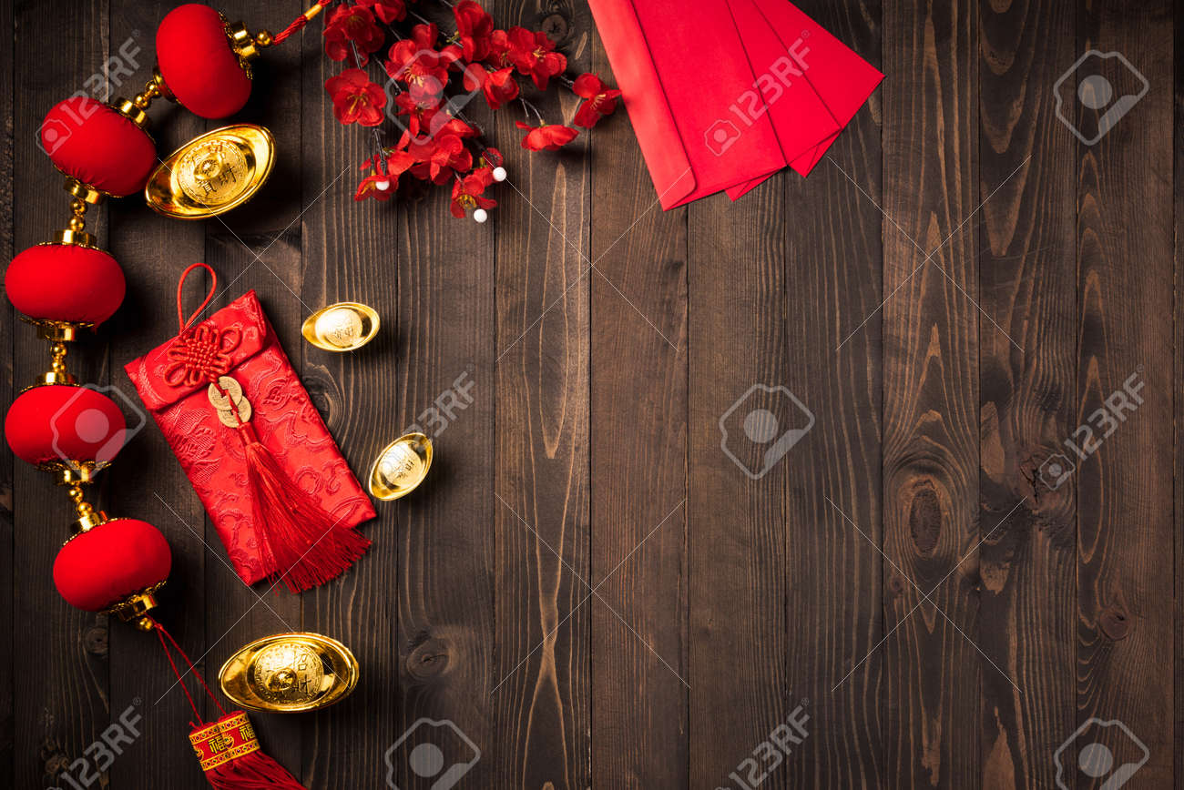 """Chinese new year 2021 festival, Top view flat lay lunar new year or Happy Chinese new year decorations celebration with copy space on the wood background (Chinese character """"fu"""" meaning fortune) - 160643856"""