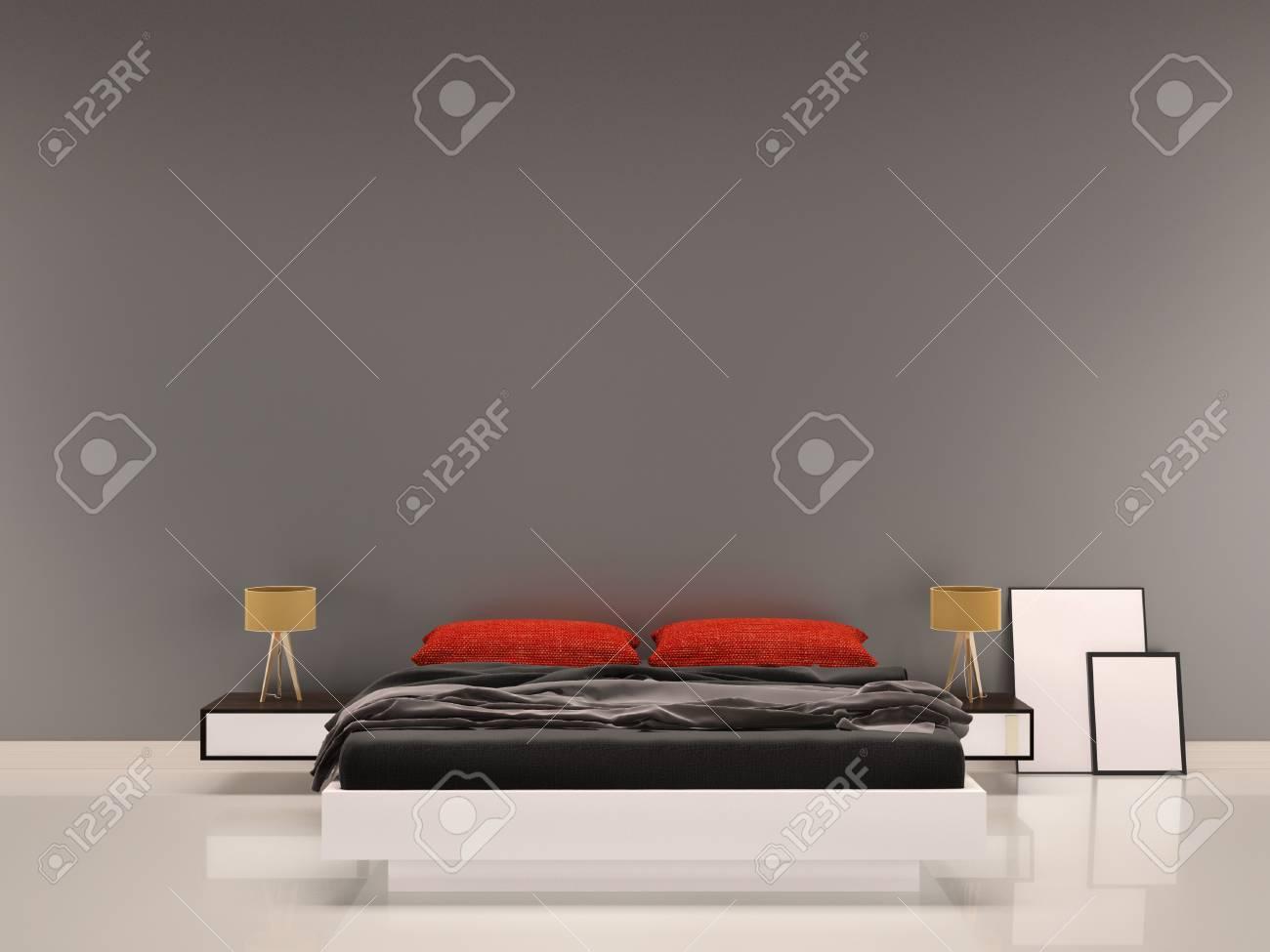 Captivant Banque Du0027images   Chambre à Coucher Avec Oreiller Rouge Gris Mur Fond  Intérieur