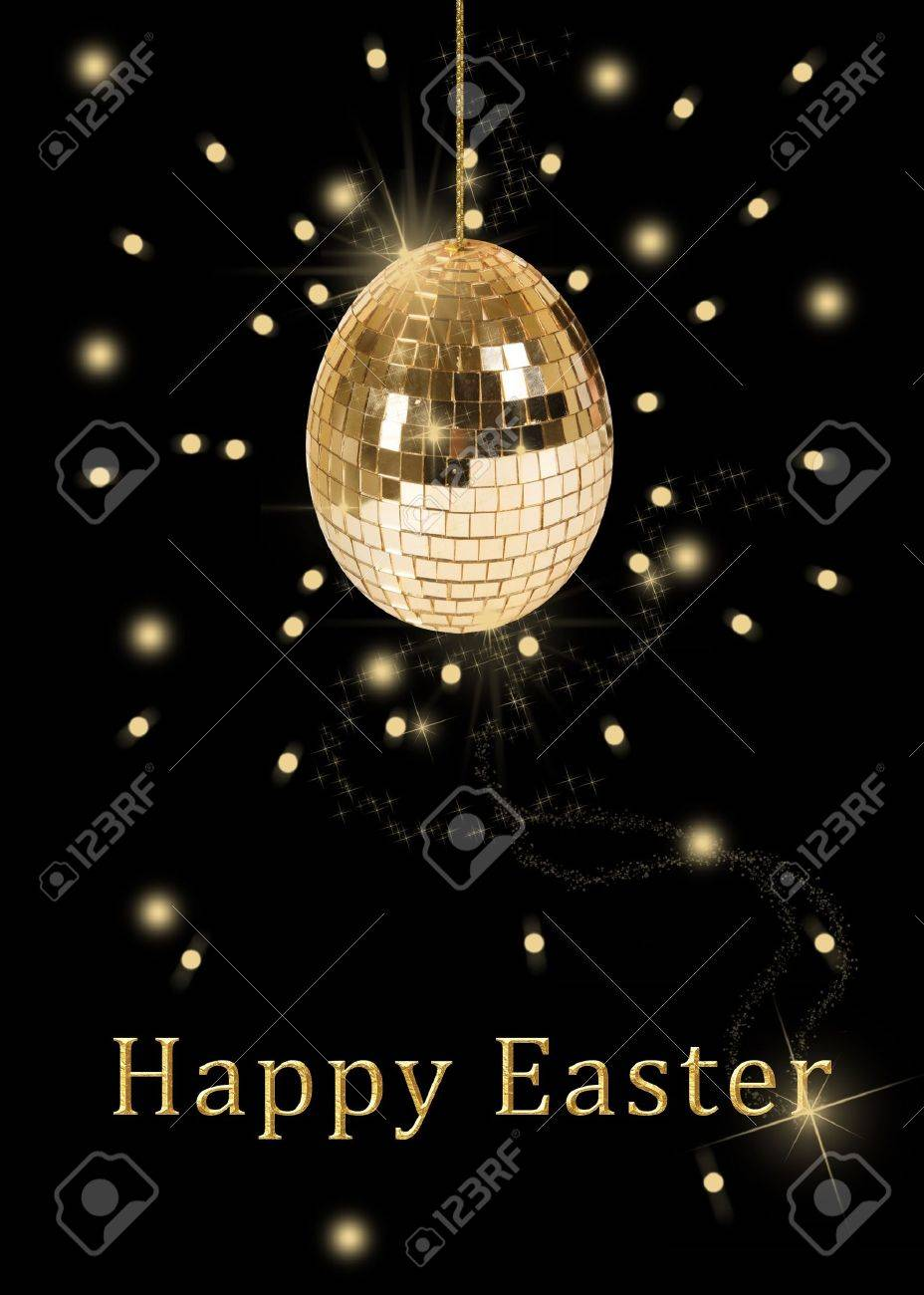 A glamourous easter illustration  a hanging disco ball in a shape of an easter egg with shiny golden sequins on a black background Stock Illustration - 12584628