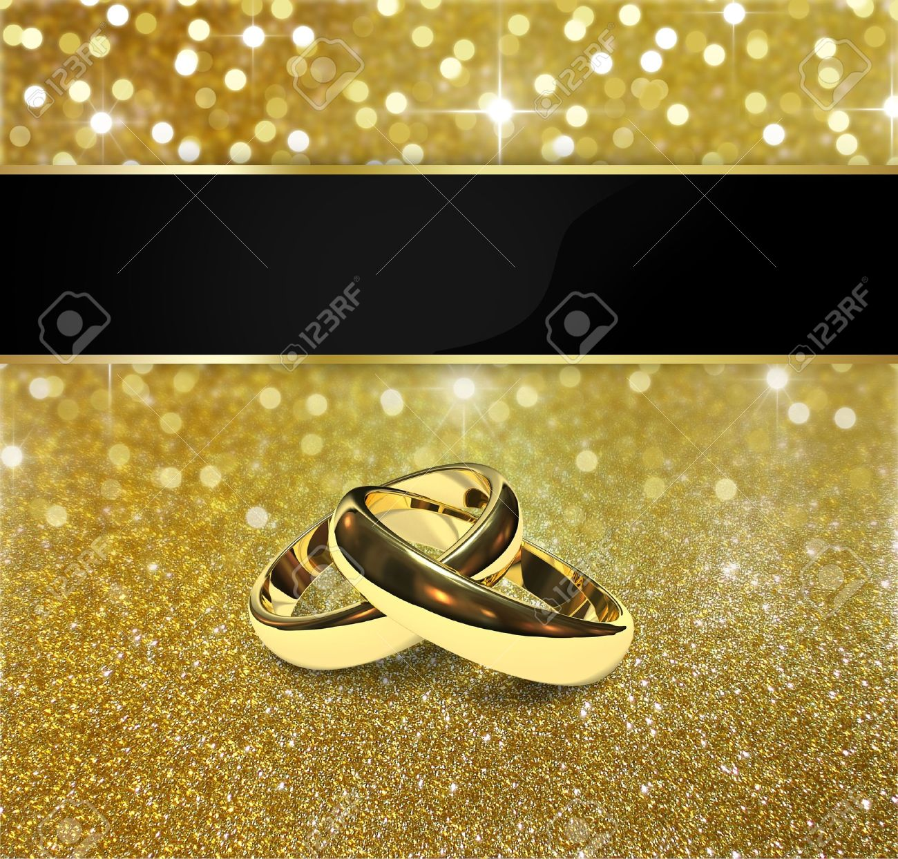 Elegant and luxurious gold design illustration  2 golden wedding rings on a gold glitter and bokeh background with sparkling  bright stars Stock Illustration - 13239422