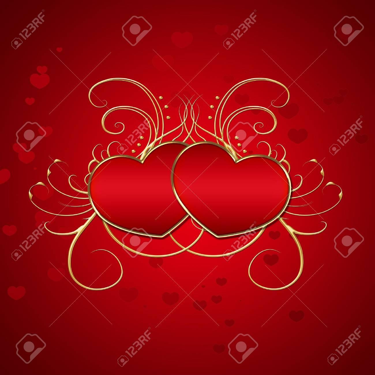 Elegant Red Hearts Illustration Stock Illustration - 14025977