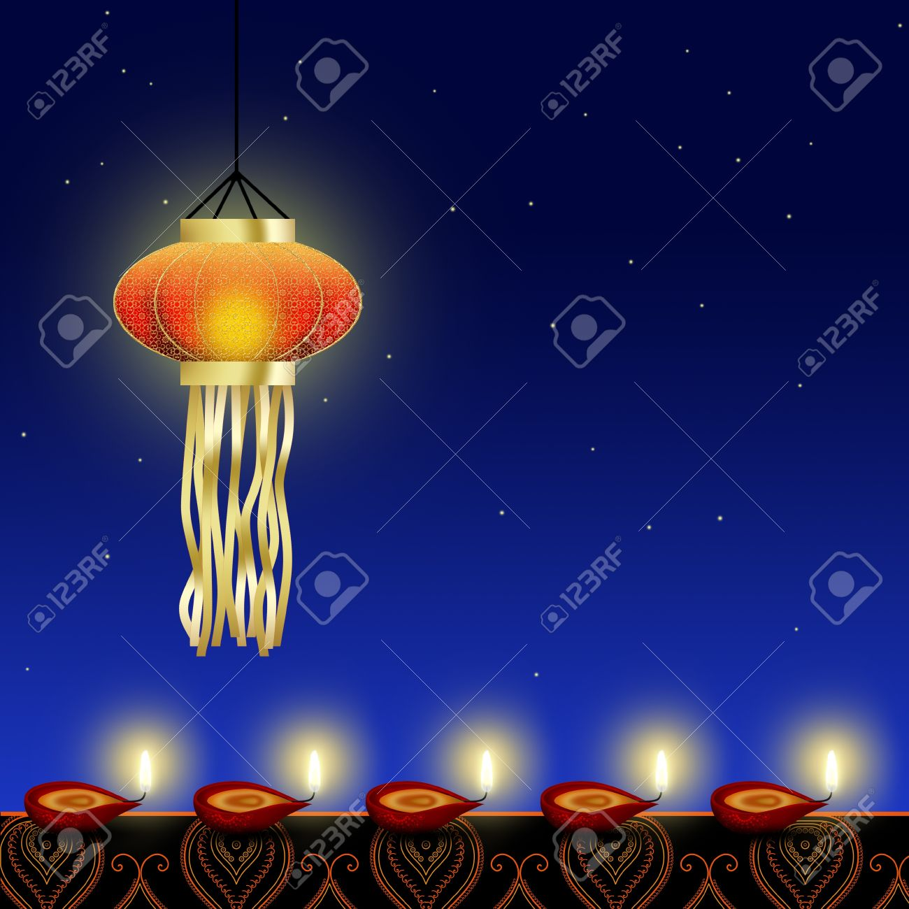 Night lamps india - Happy Diwali Illustration A Shiny Diwali Lamp With Red Diyas Cup Shaped Indian Oil Lamps