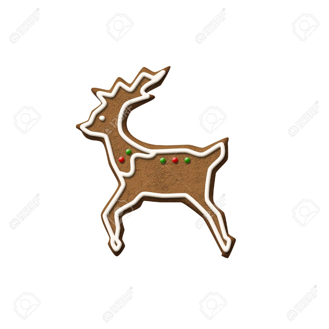 Gingerbread Reindeer Isolated On A White Background