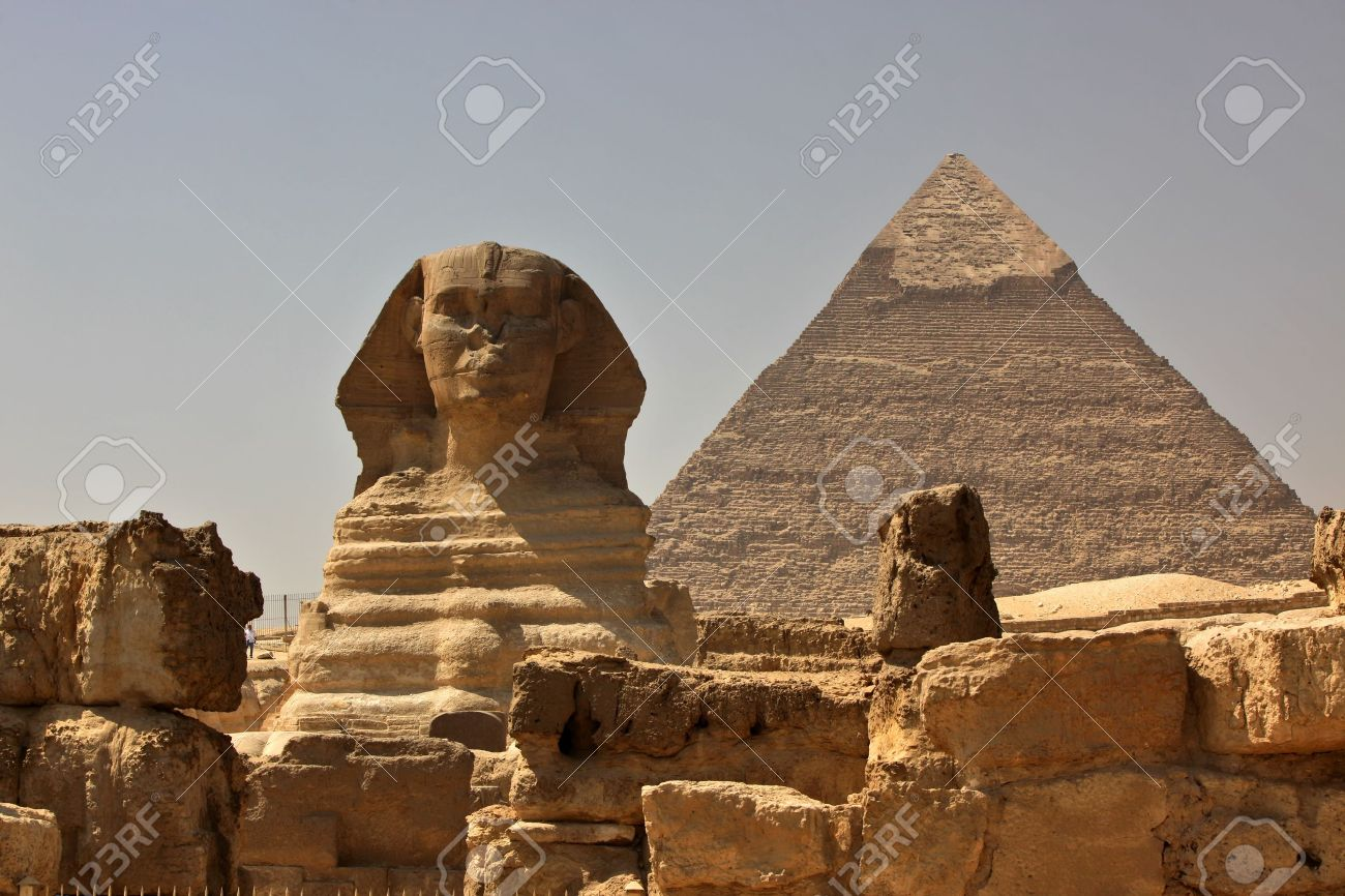 The Great Sphinx of Giza, with the Pyramid of Khafra in the background Stock Photo - 9741314