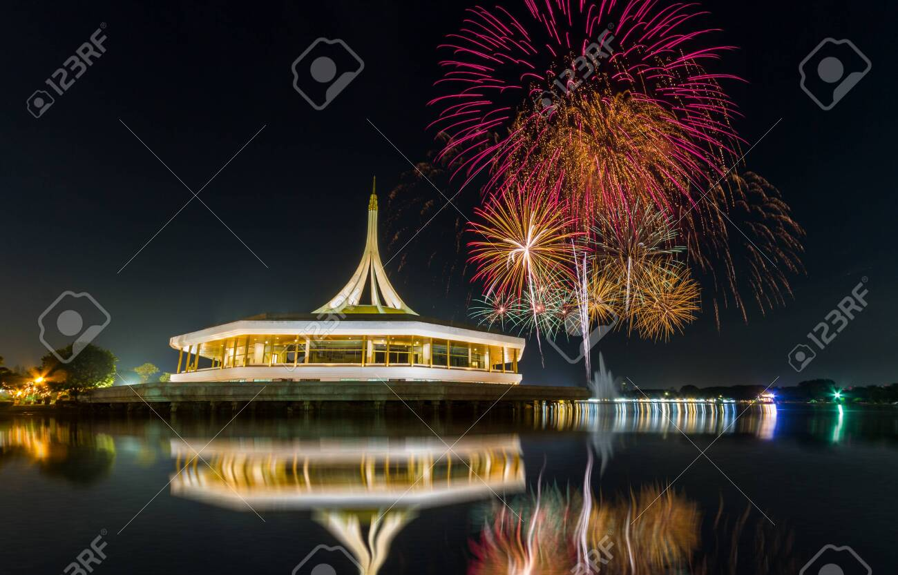 Monument in public park of thailand and fireworks background in public park, Night light shooting reflection on water concept at the Suanluang Rama 9, Thailand - 123068299