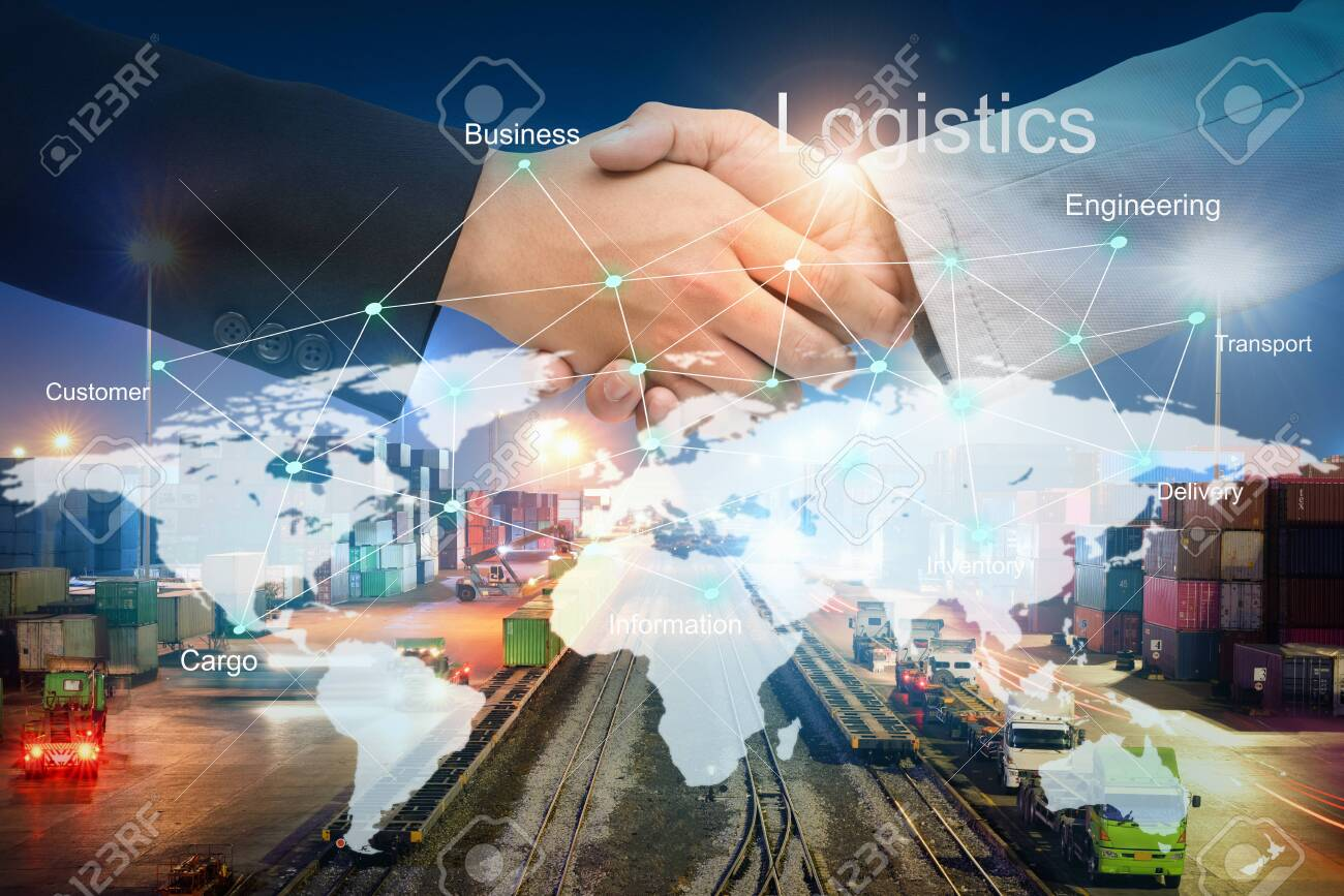 Businessman people shaking hands on agreement of Beneficial for success in logistics with technology line on the world map about cargo transportation services, Import-Export management for logistics - 123731635