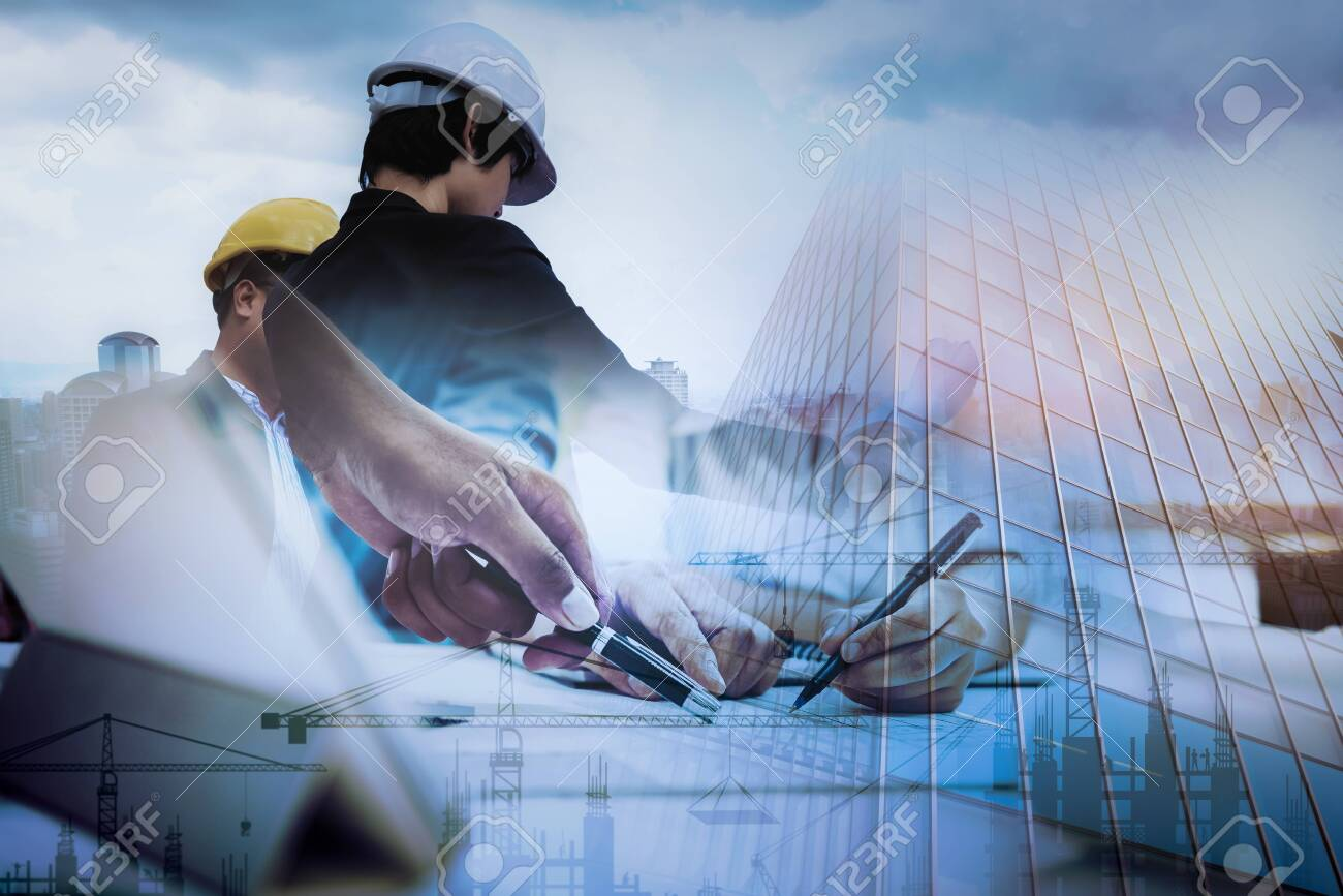 Civil Engineer Jobs, Double exposure of Project Management Team and Construction Site with tower crane background, Engineer Designer Consultant and Architecture Team concept. - 123735963