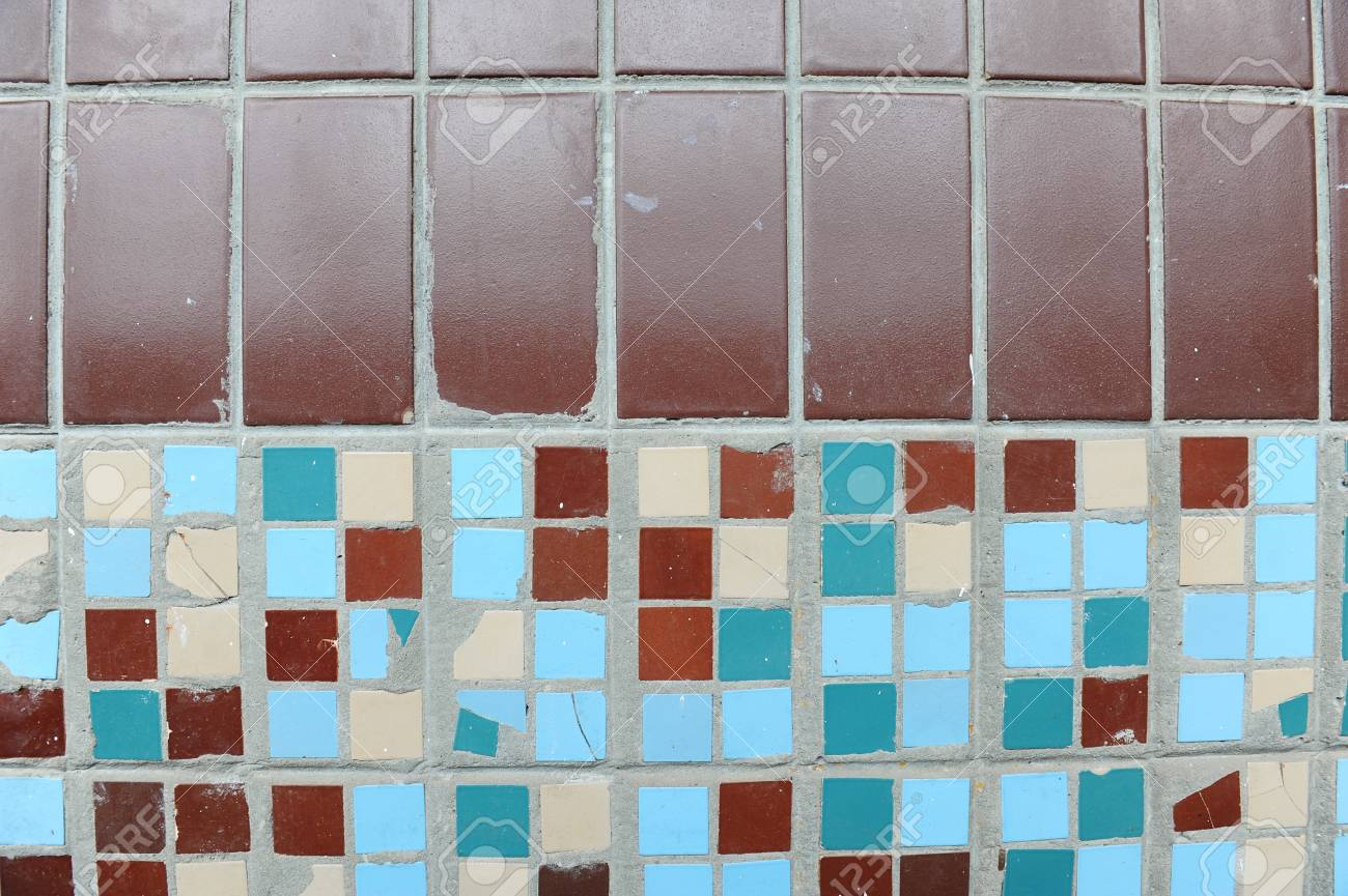 Texture Of Small Square Tiles. Beige, Blue, Turquoise And Brown ...