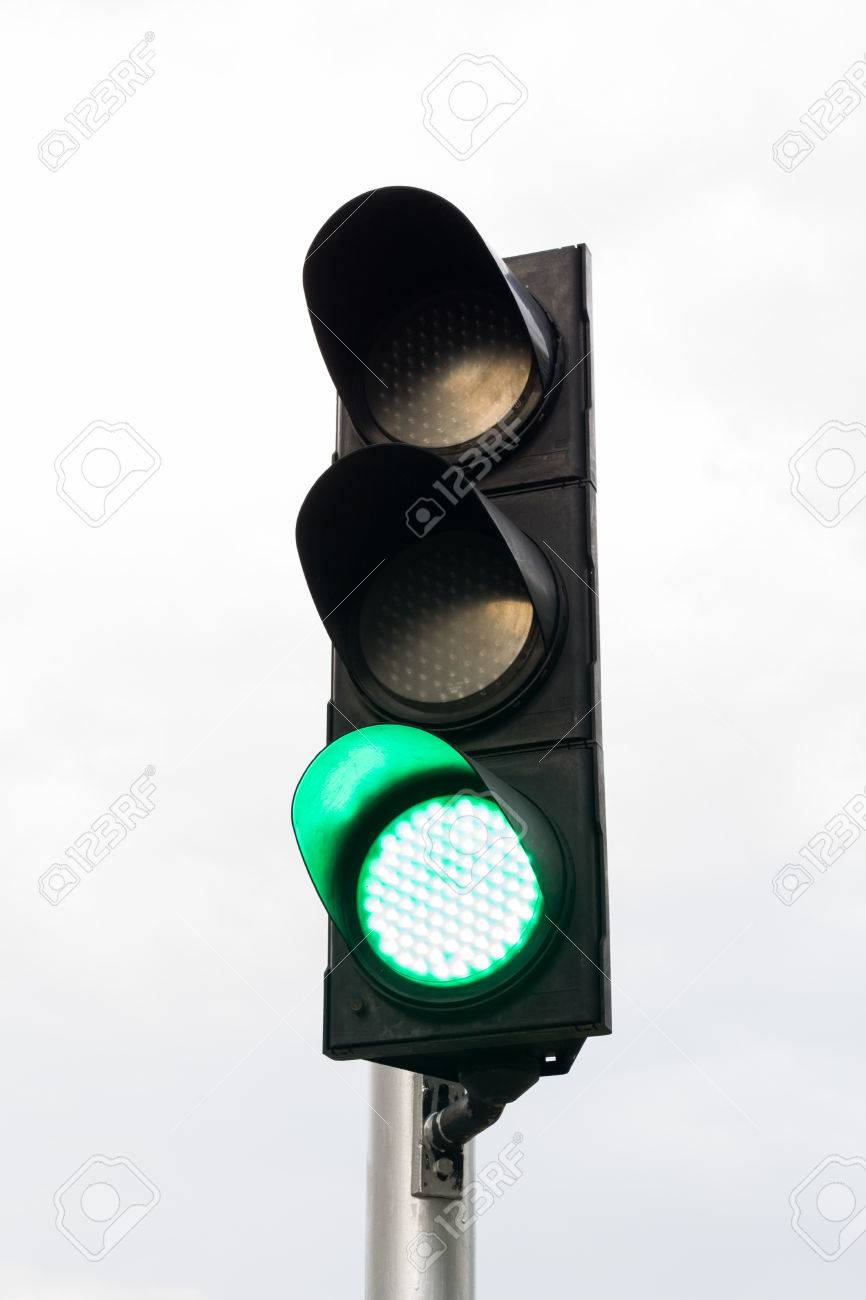 Green color on the traffic light. - 43955218