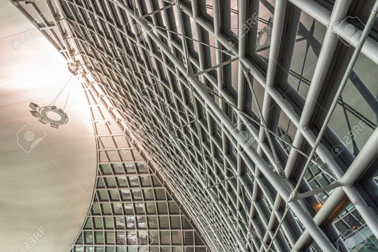 Interior Of Metal Roof Structure Of Modern Building Stock Photo Picture And Royalty Free Image Image 56691329