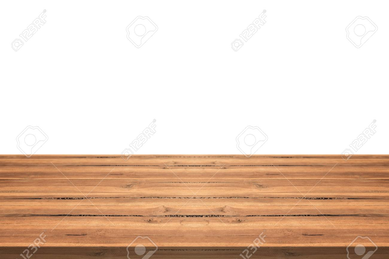 Empty Teak Wood Table Top On White Background Space Montage You