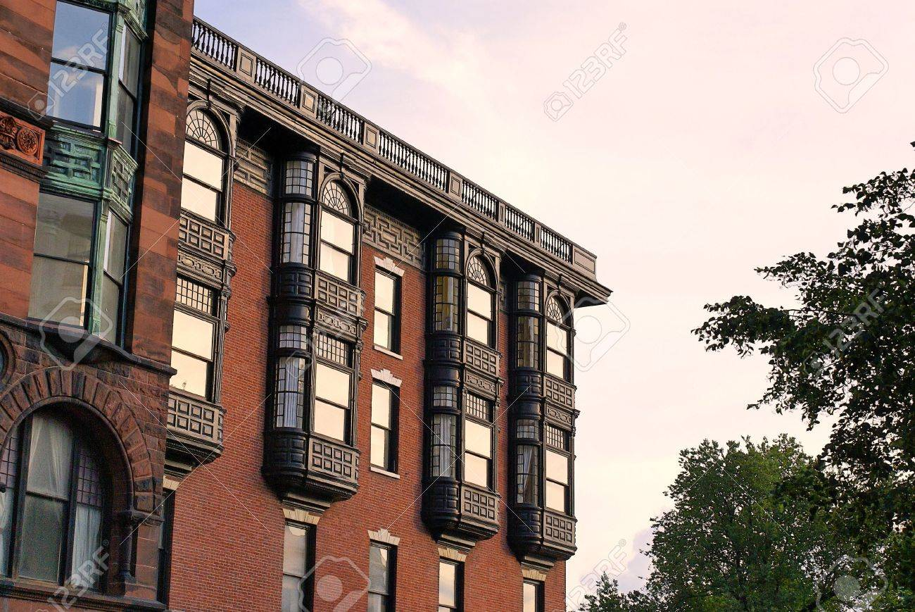 Upper Floors Of Old Brownstone Apartment Building In Boston