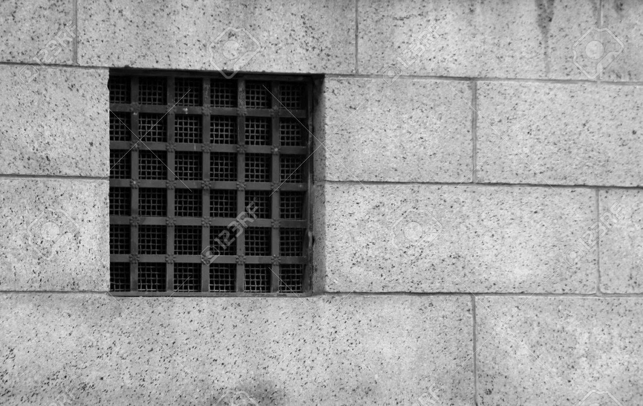 Alte Fenster Aus Gefängnis In Rahmen, Schwarz Und Weiß Lizenzfreie ...