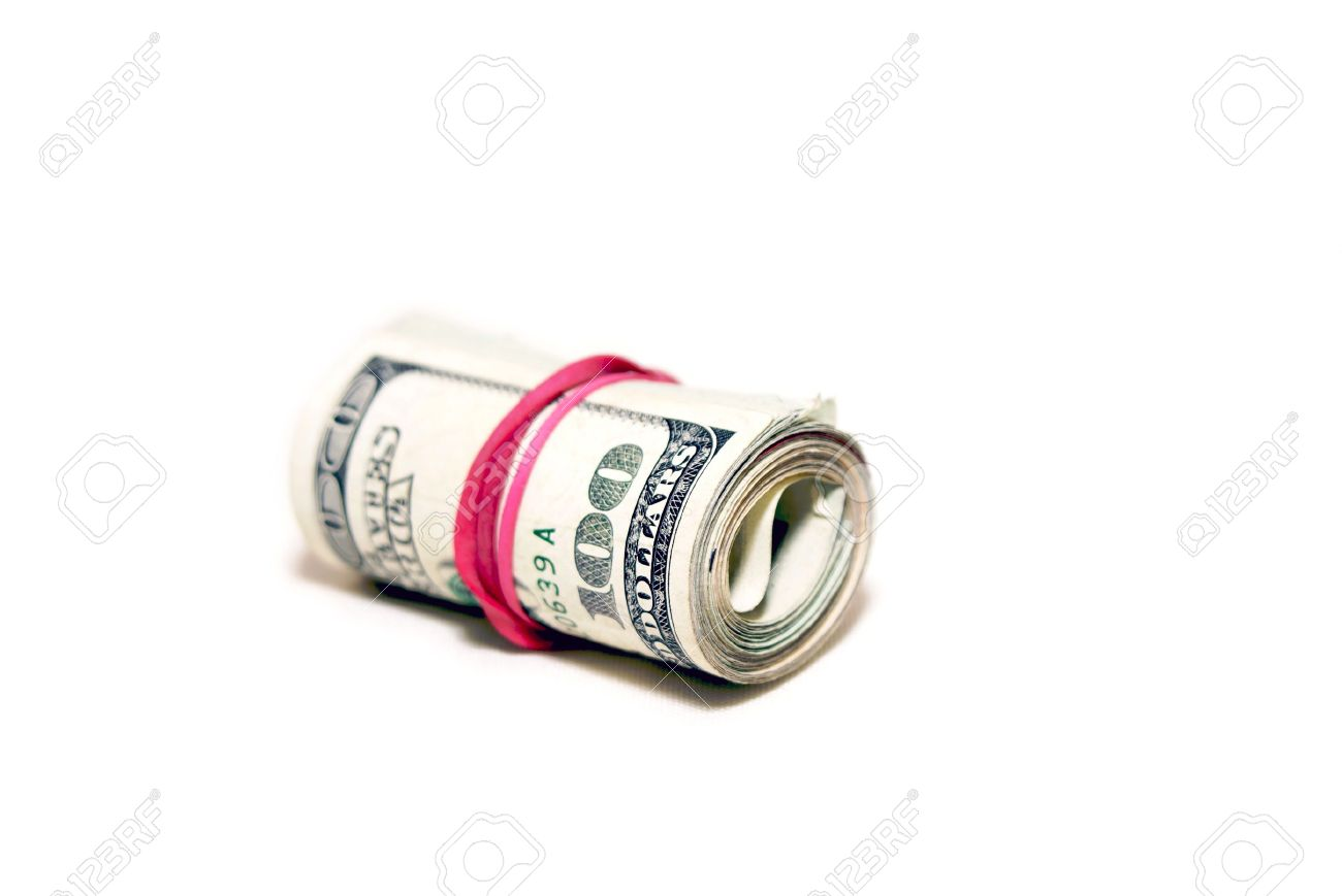 Roll Of Money Wrapped With A Red Elastic With Clear Background ...