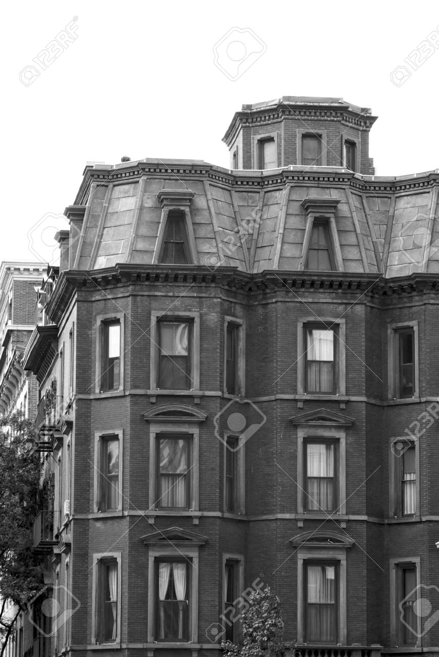 Black And White Image Of Stately Old Apartment Building In Downtown Boston  Massachusetts Stock Photo