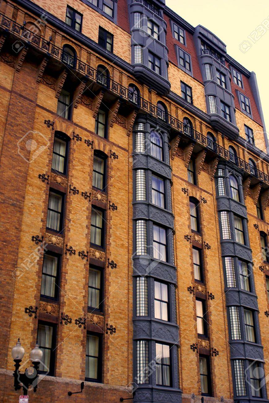Very Ornate And Colorful Apartment Building In Downtown Boston