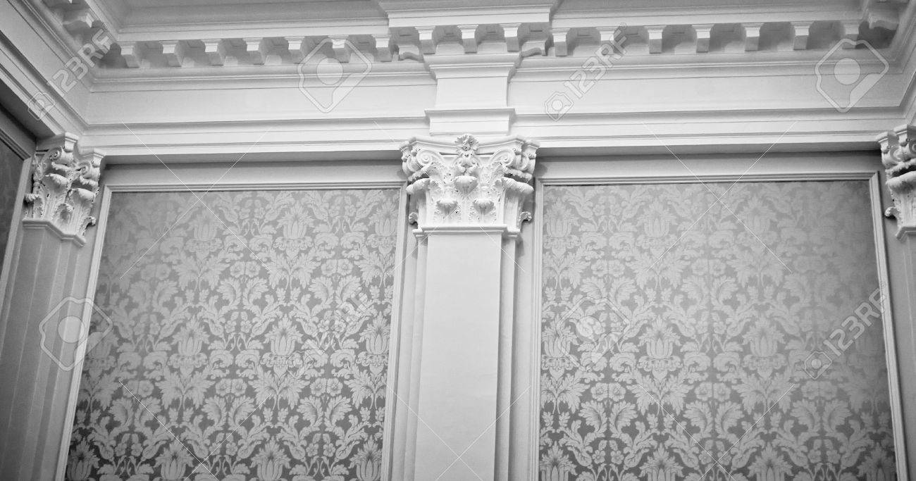 majestic wall covered in fabric, with columns, capitals, crown molding, Stock Photo - 3776177