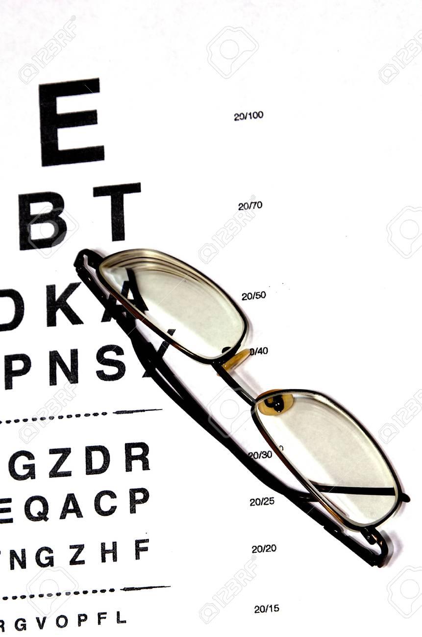 e0fe4a3b54f modern eyeglasses resting on eyechart with frame closed Stock Photo -  3836102