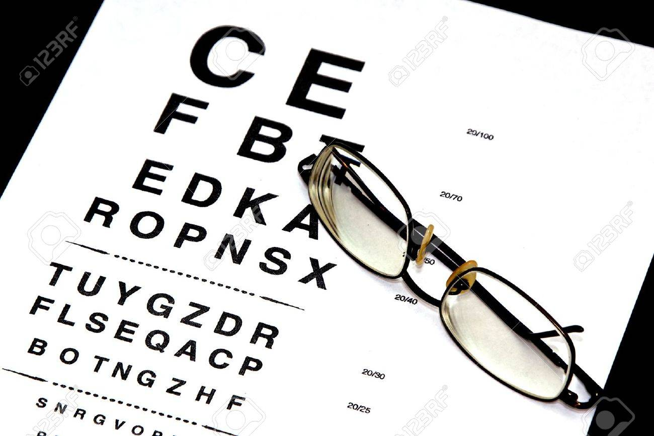 bf31b2527a3 modern eyeglasses resting on eyechart with frame closed Stock Photo -  3836104
