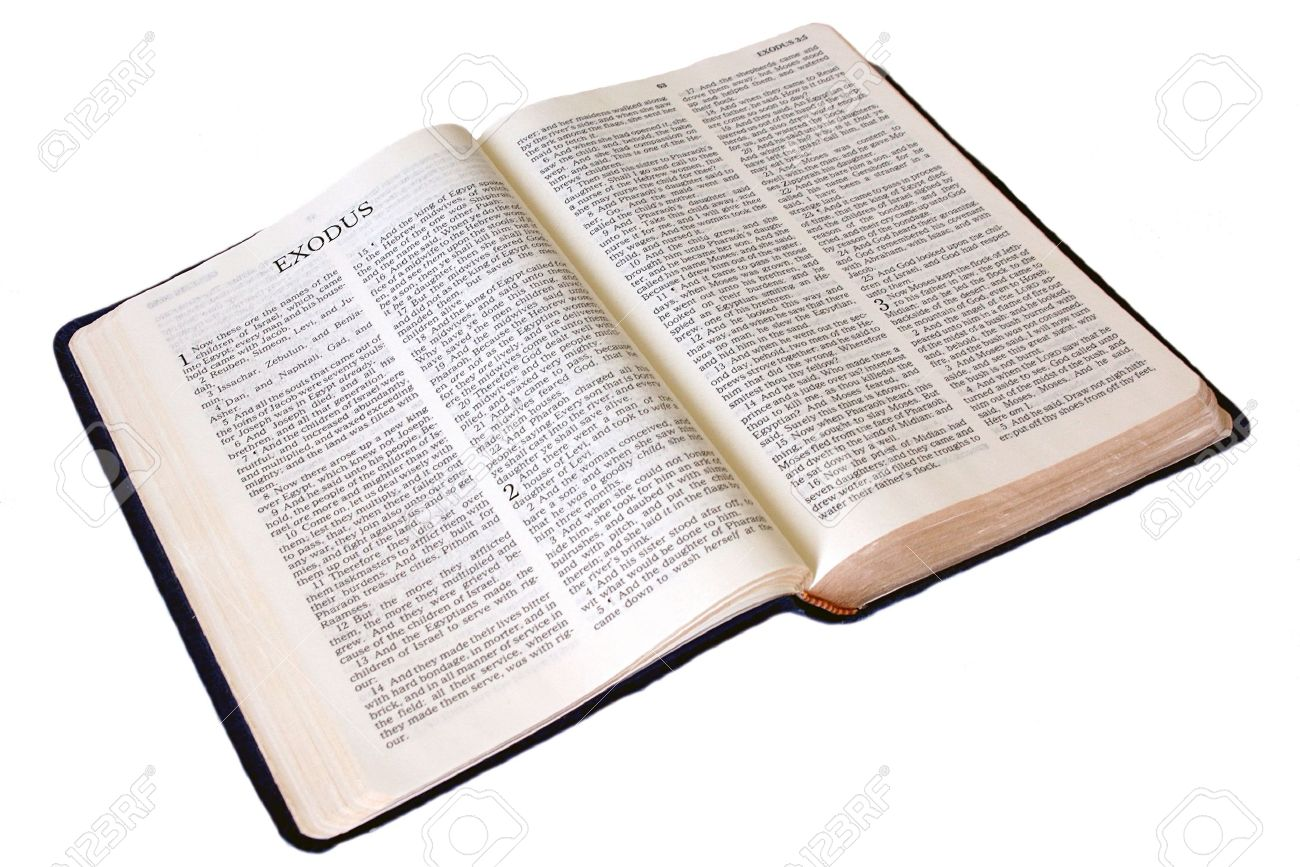 the holy bible is open to the first page of the book of exodus