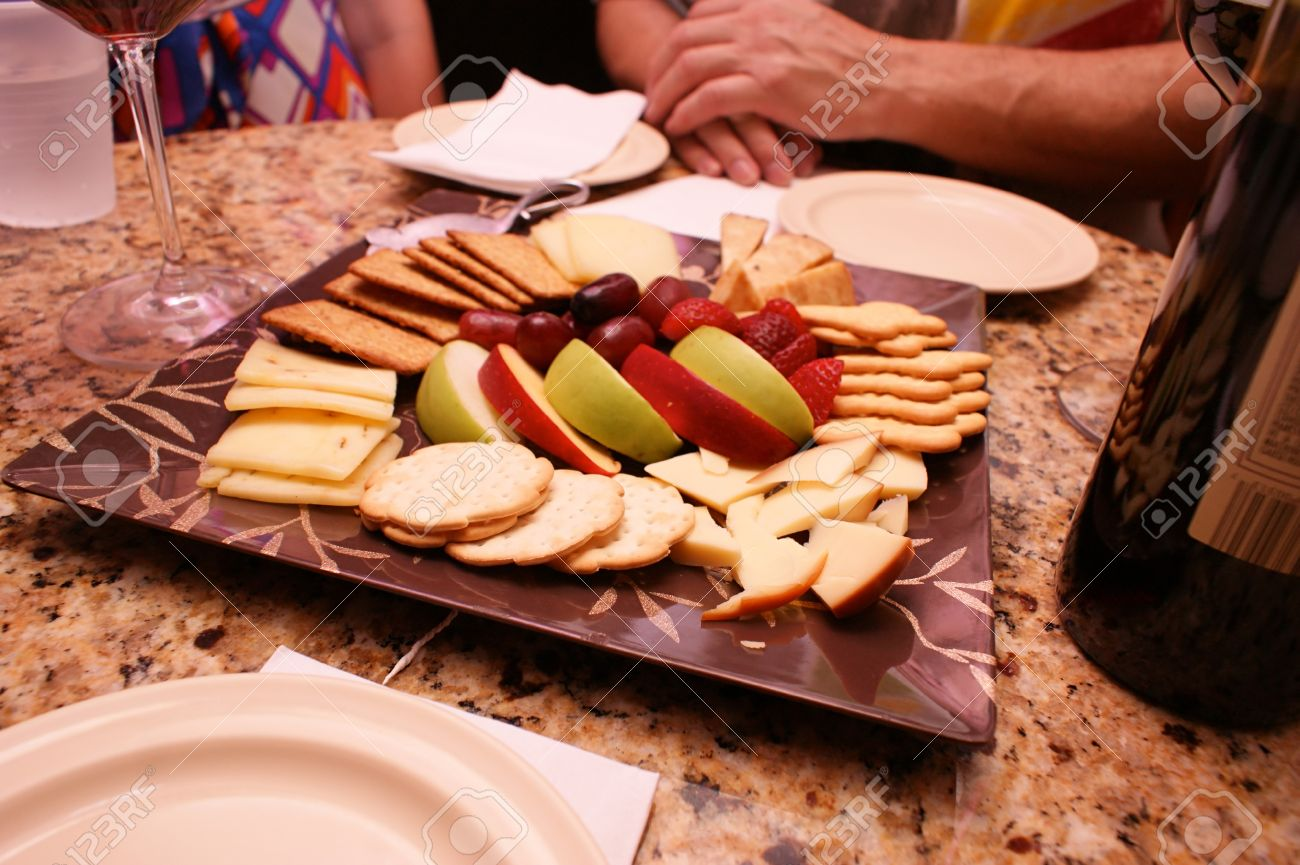 A Square Snack Plate With Fruit Cheese And Crackers Is Set Stock Photo Picture And Royalty Free Image Image 10293640