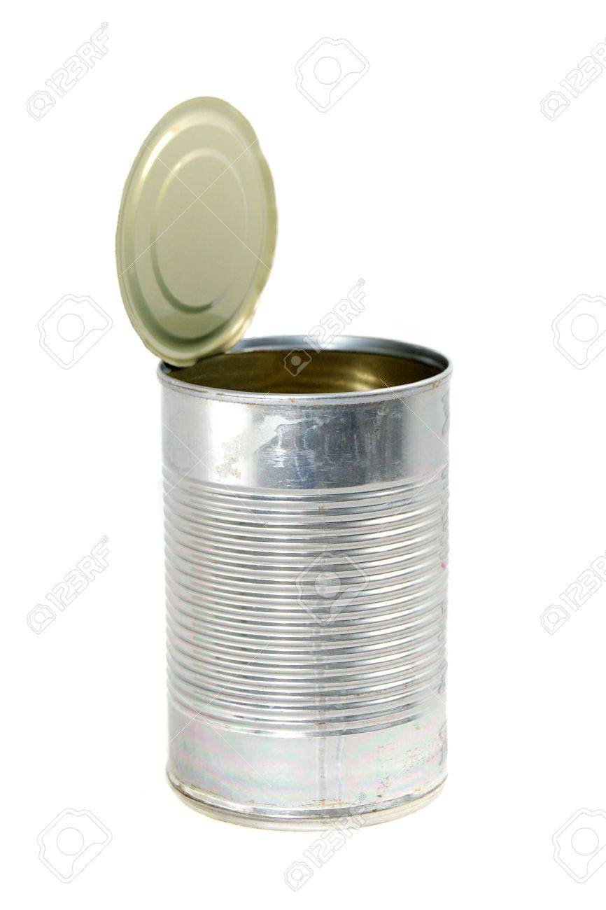 Side View Of An Empty Metal Food Can The Top Is Open And Still