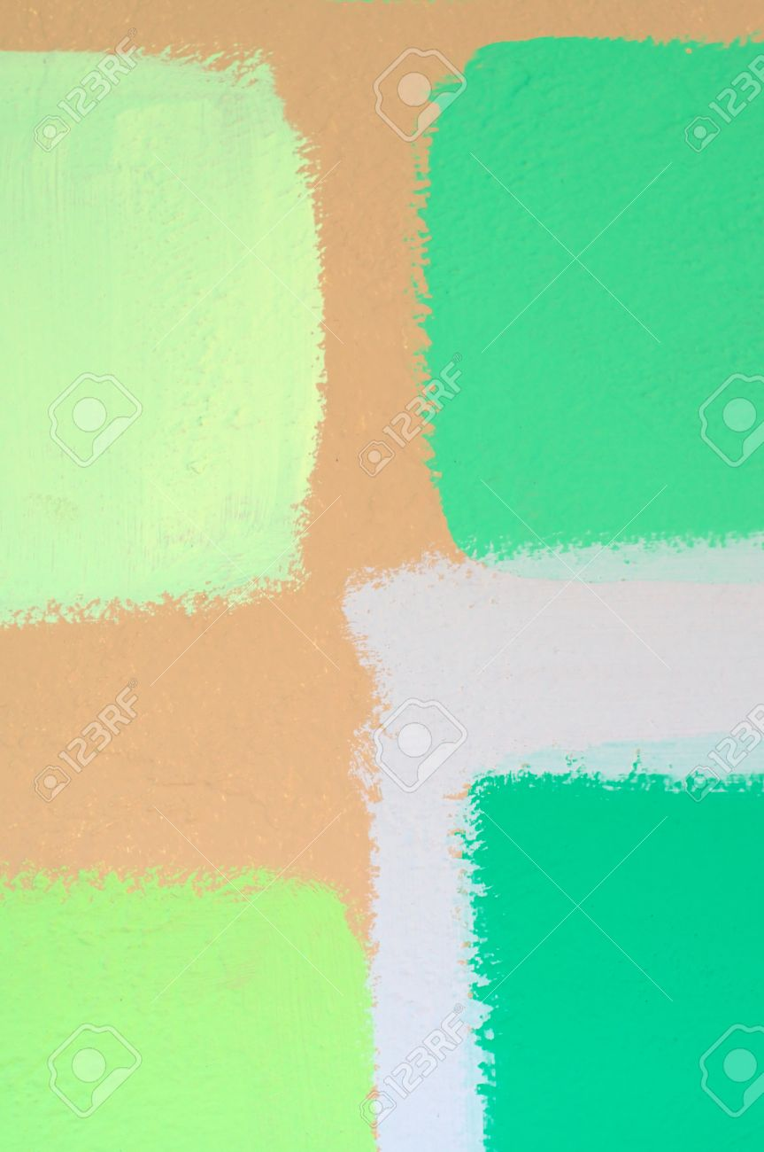 Swatches Of Different Shades Of Green Paint Applied To Wall To ...