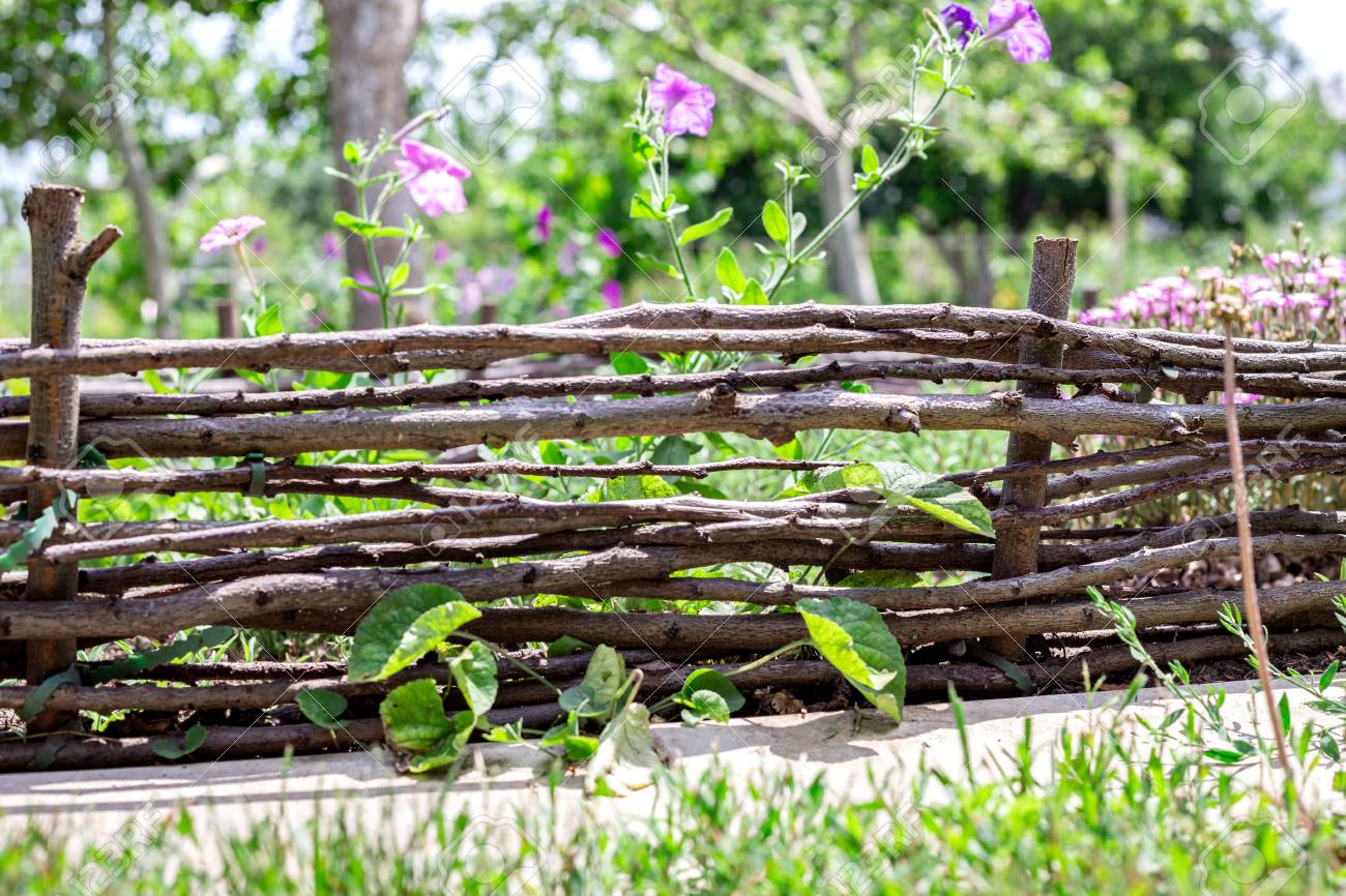 The Fence From Willow Branches In The Garden Stock Photo Picture And Royalty Free Image Image 83360767