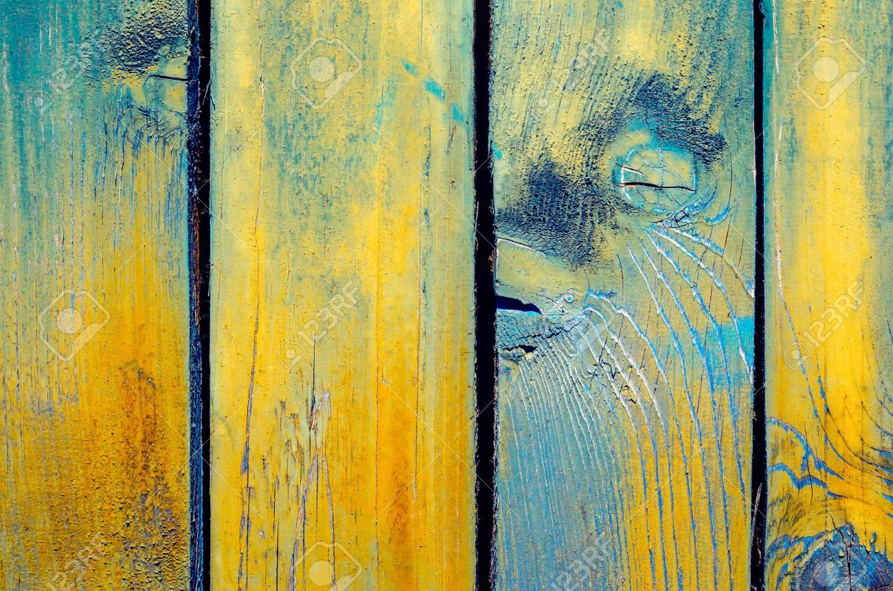Fond Materiel Bois Pour Papier Peint Vintage Bleu Et Jaune Banque D