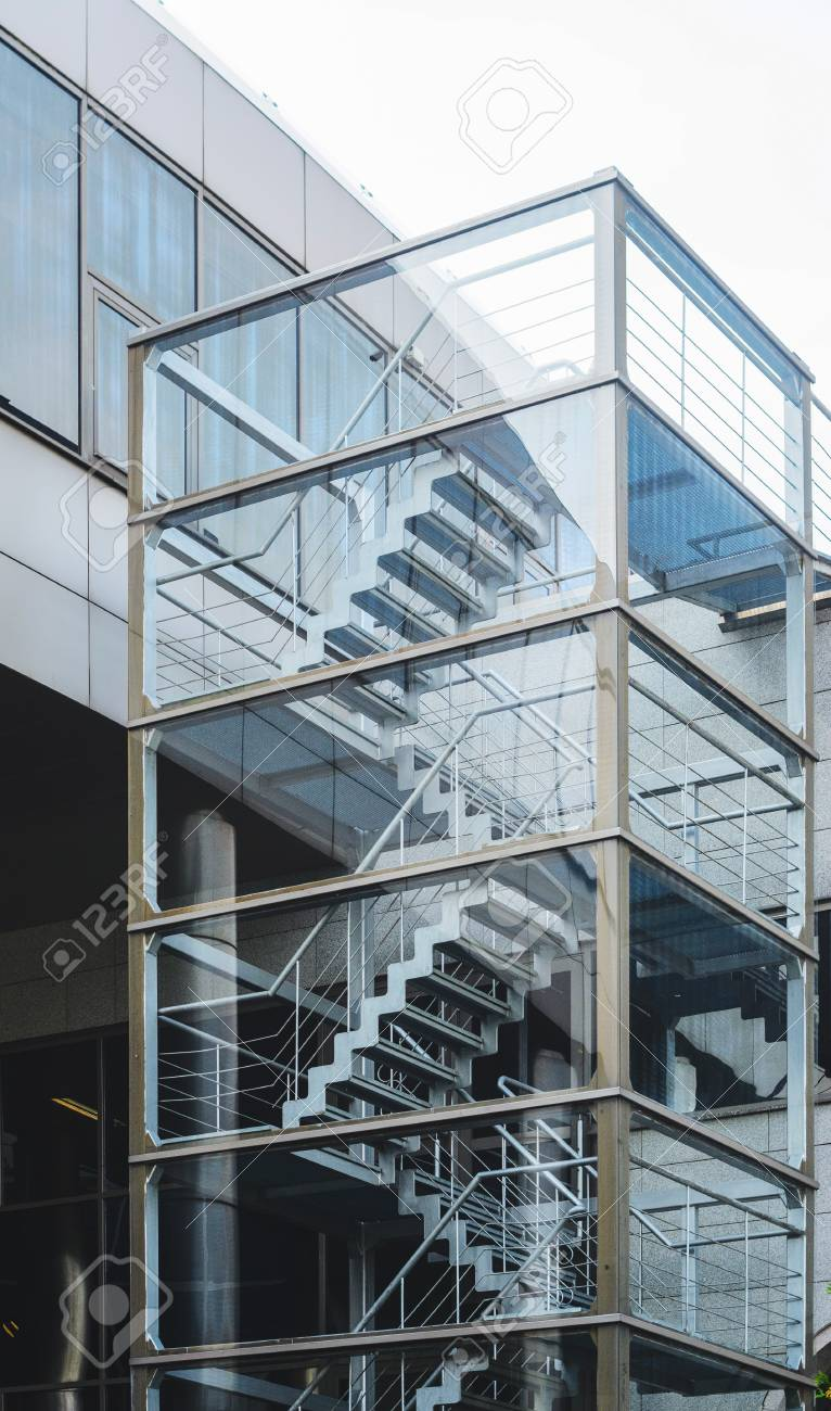 Lovely Metal Fire Escape Outside Apartment Building For Emergency. Staircase On  The Facade Of A Modern