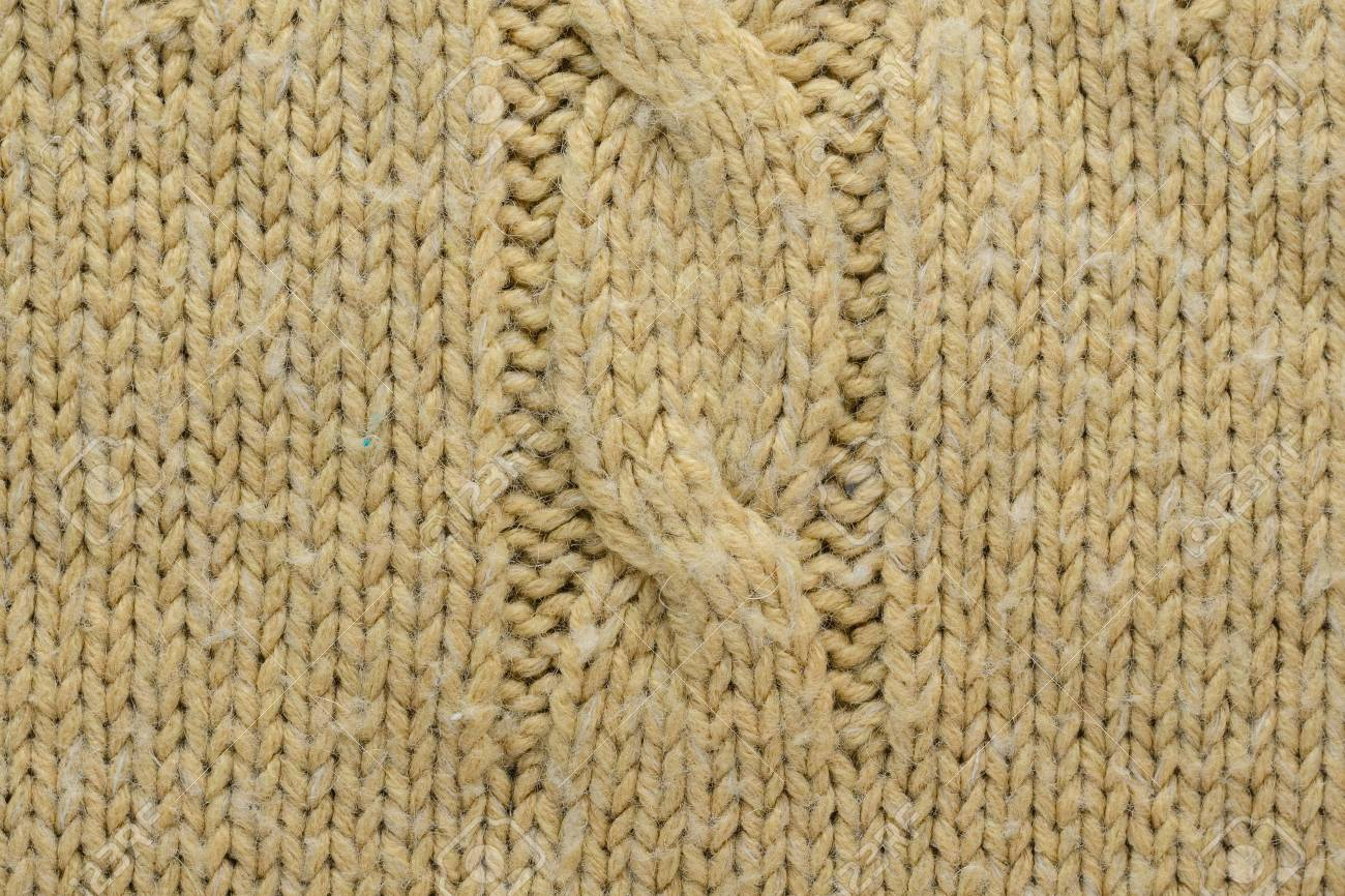 1bc3b8bbd45 Knit Texture of Beige Wool Knitted Sweater with Cable Knits Pattern. Stock  Photo - 97312456