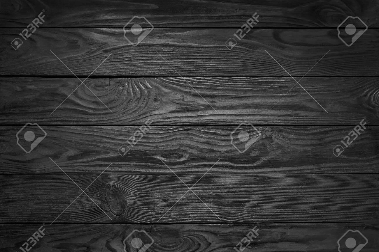 Black Wooden Texture. Black Plank Floor Background - 135228116