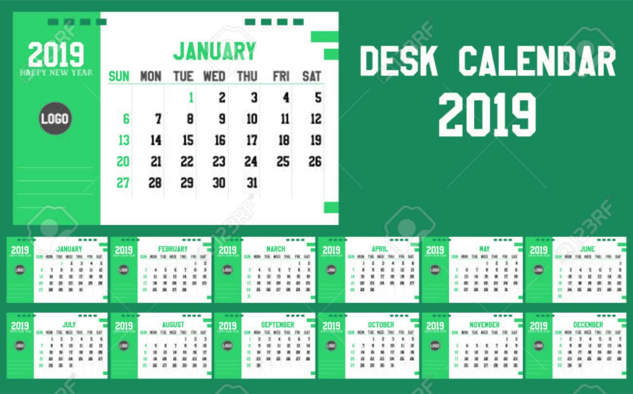 Happy New Year 2019 Calendar Planner Template Desk Calendar