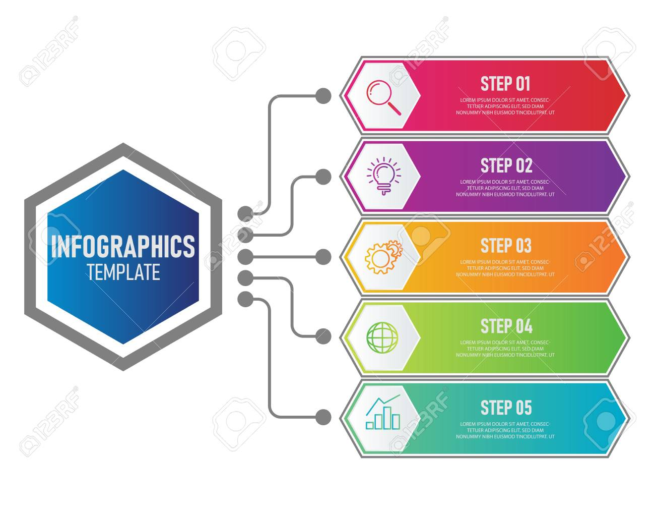 Business Infographics Template With Colorful Diagram Workflow Royalty Free Cliparts Vectors And Stock Illustration Image 127730890
