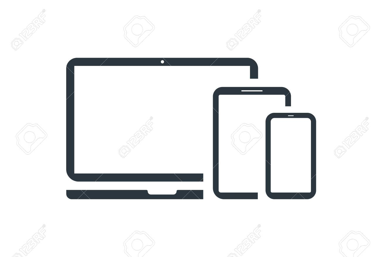 laptop with phone and tablet icon vector - 145077981