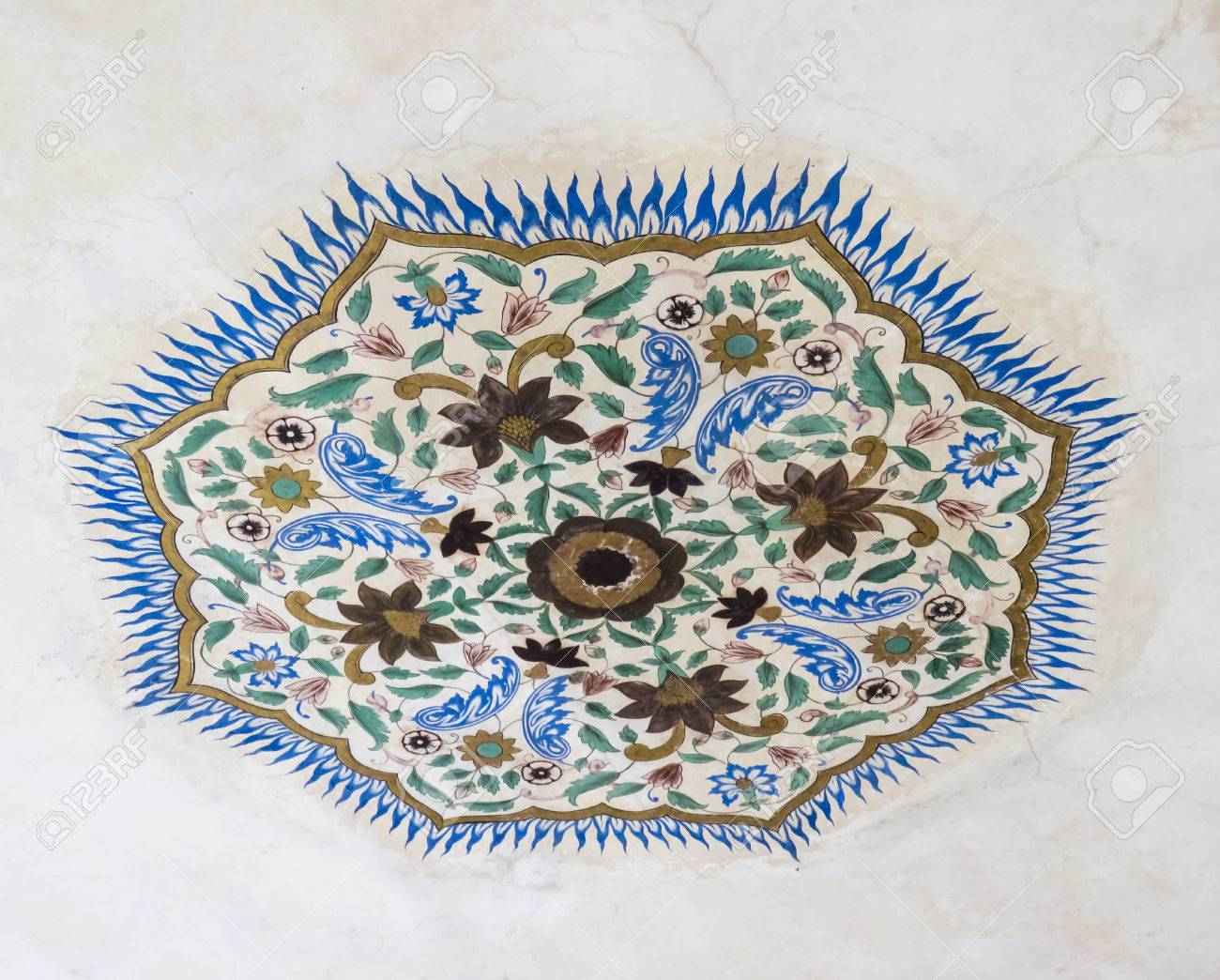 Artistic Handmade Wall Painting In Amber Fort Rajasthan India