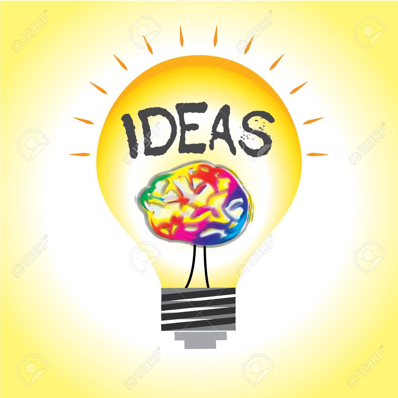 ideen verlichting met de hersenen als abstracte filament in gloeilamp stockfoto 77831314