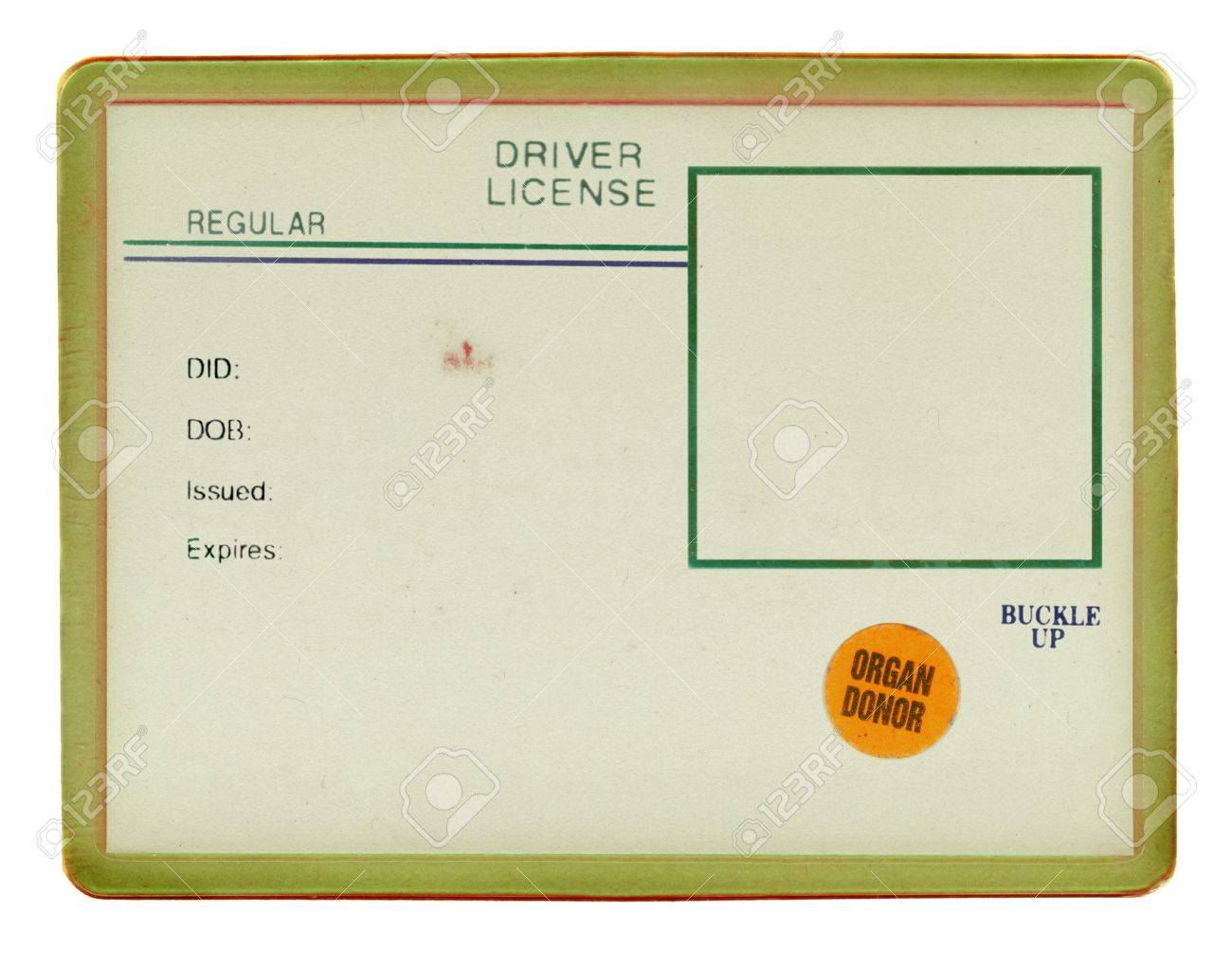 Blank Drivers License With Visible Old Paper Texture Scratchs Stock Photo
