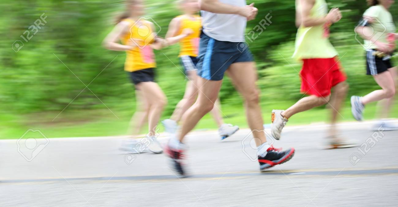 motion blur of runners in a marathon Stock Photo - 5030609