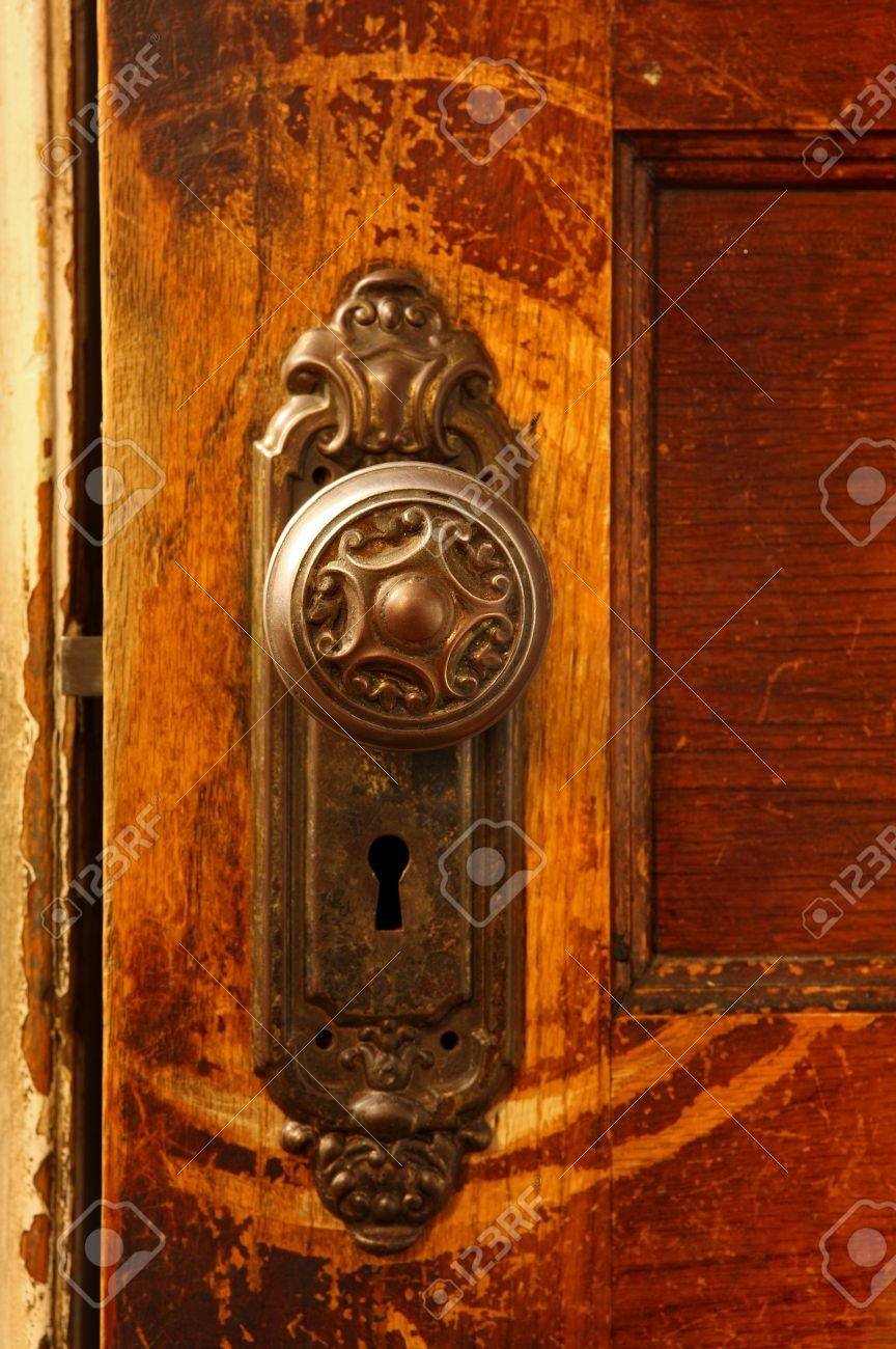 A Close Up Of A Vintage Door Knob On A Wooden Door Stock Photo   5030562