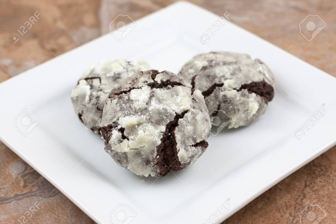 Chocolate Crackle Cookies With Powdered Sugar Coating. Stock Photo ...