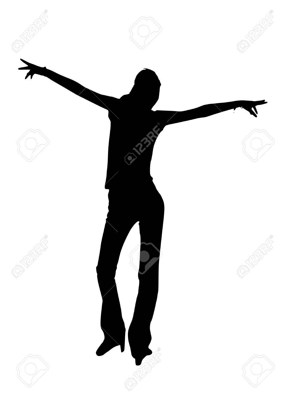 jpeg image from svg vector. Silhouette of a young dancing woman Stock Photo - 2379736