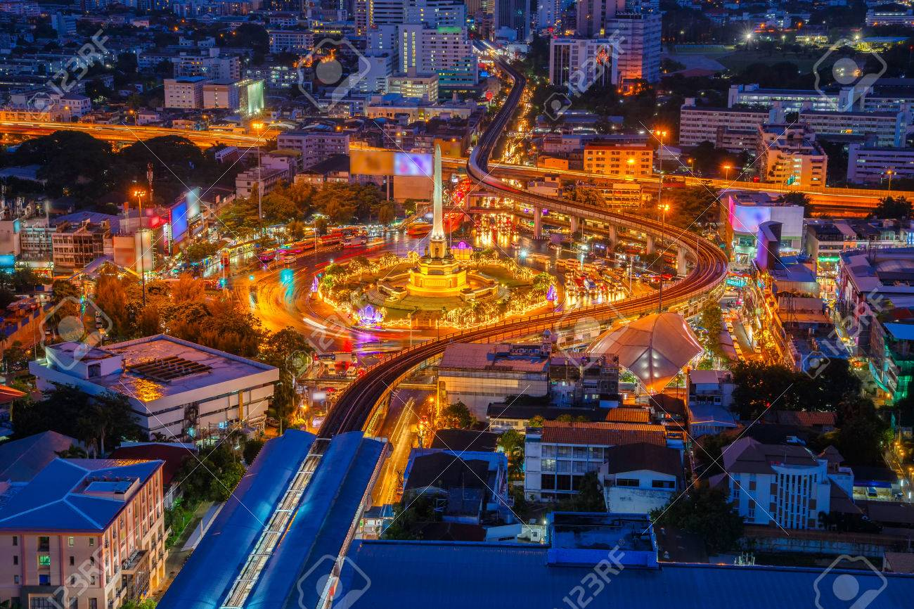 Thailand victory monument and main traffic for road in Bangkok, Thailand - 70837963