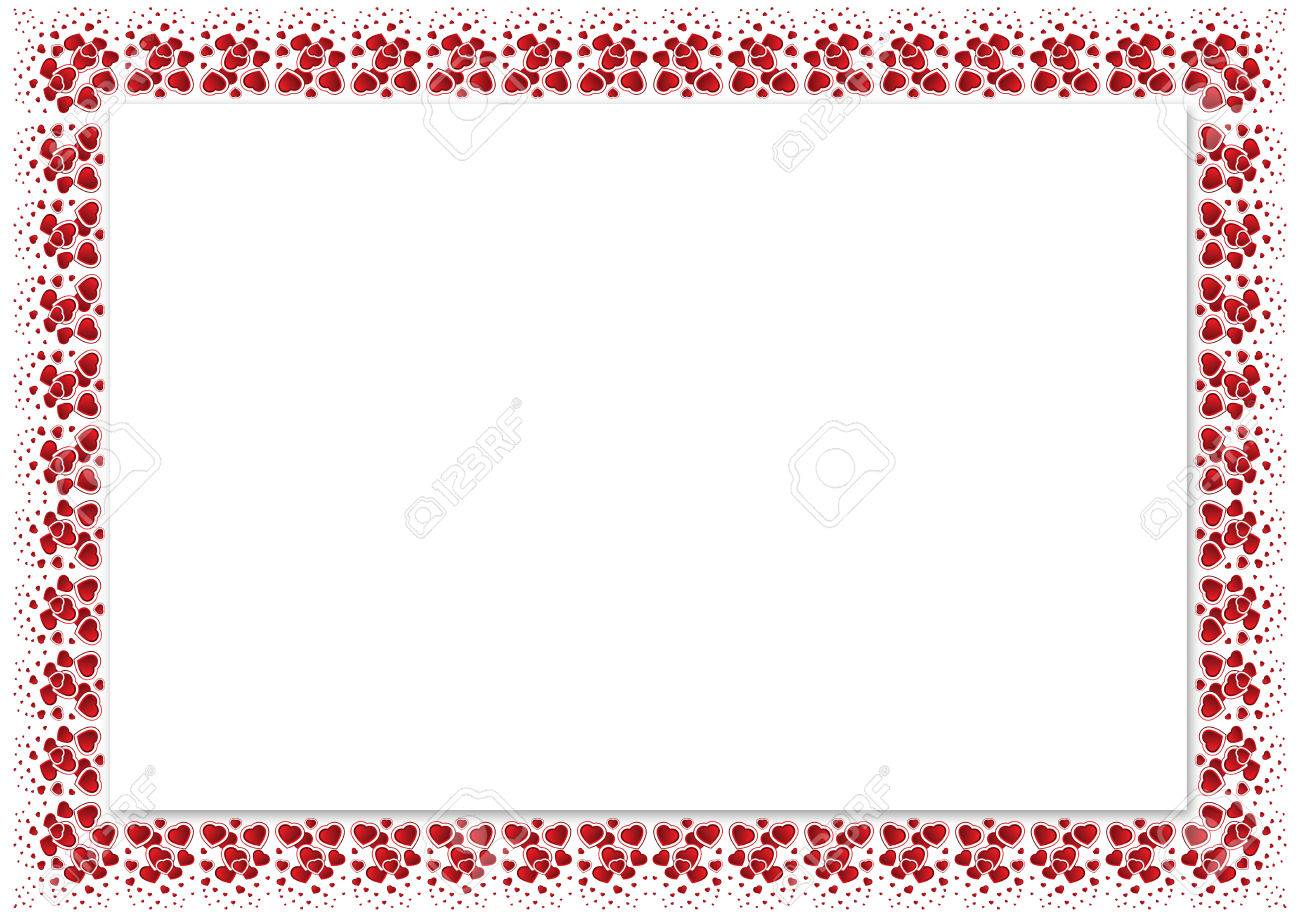 Valentines Day Frame With Hearts Square Border Royalty Free