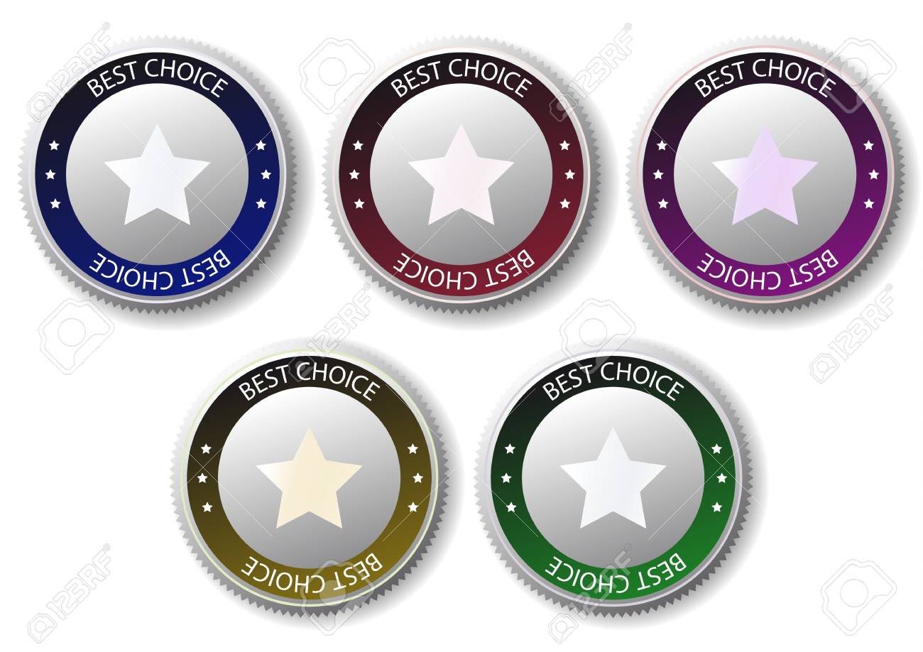 five colorful medals with star; stylish best choice label sign Stock Vector - 18258788