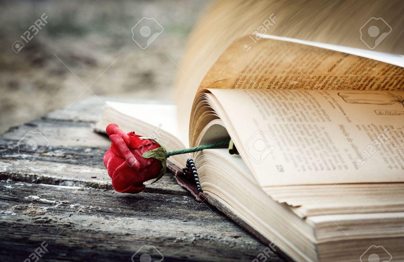 Livre fermé sur le bureau de bois de rose banque dimages et photos