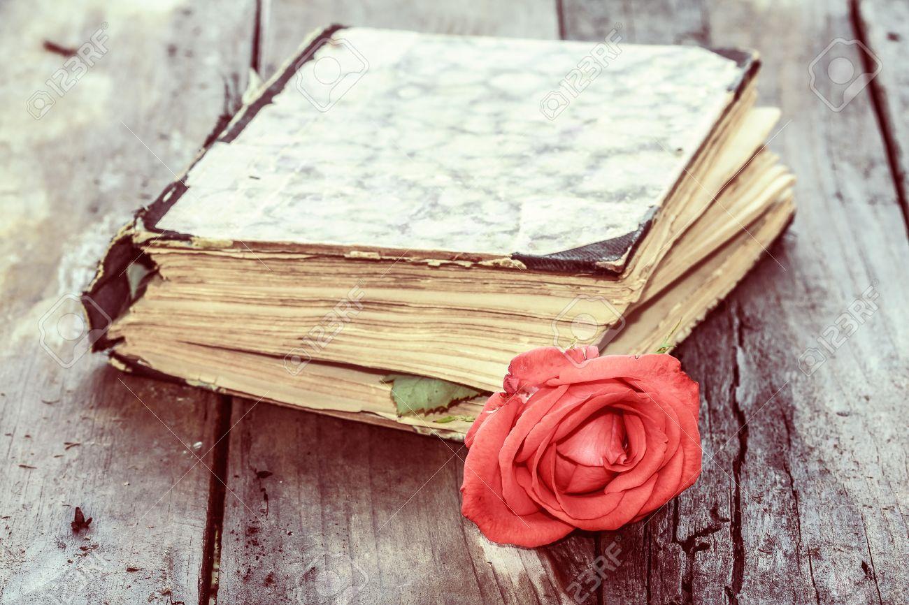 Millésime livre fermé âge sur le bureau de bois de rose banque d